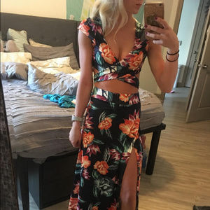 Sexy  Floral Two Piece Maxi Dress